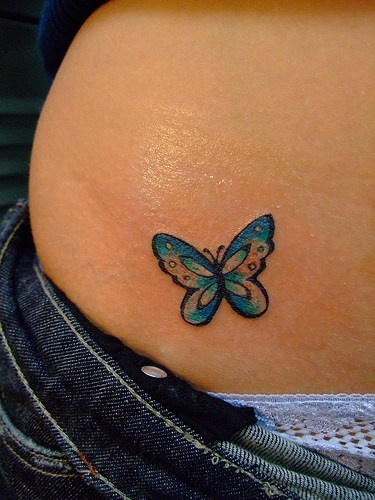 Colourful girly butterfly tattoo
