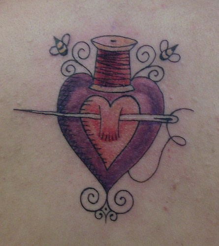 Heart and  sewing notions tattoo