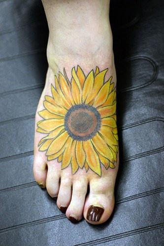 Large Sunflower Tattoo On Foot Tattooimages Biz