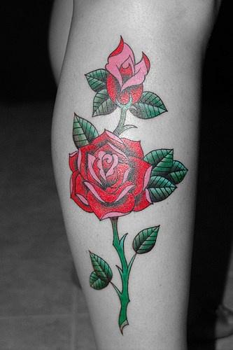 Elegant red rose clessic tattoo