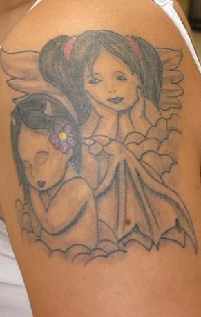 Good and evil cherubs in clouds tattoo