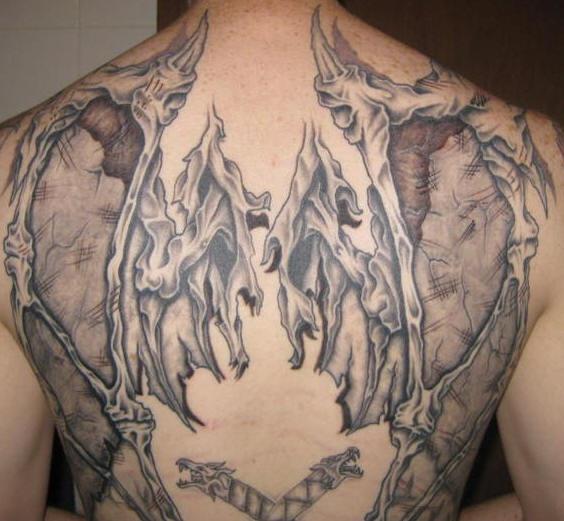 afdf4c5cebb2f Demon wings tattoo on back - Tattooimages.biz