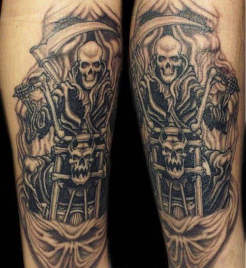 Grim reaper on motorcycle tattoo
