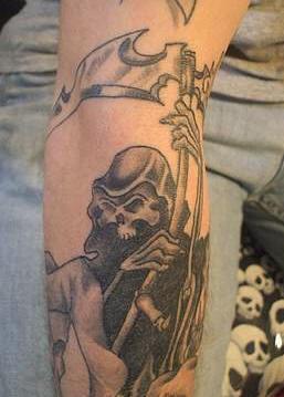 Grim reaper black ink  tattoo