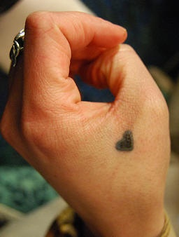 Little, black, simple heart hand tattoo