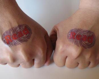Fingerprints red inscription read hand tattoo