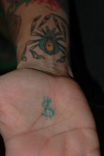 Big, colourful spider, sign of dollar hand tattoo