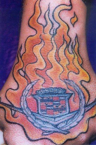Burning brightly styled  symbol sign hand tattoo