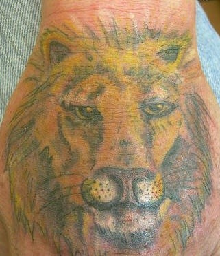 L&quotimmagine della testa di leone tatuato sulla mano