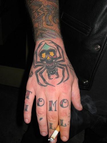 Dreadful spider-monster, inscription hand tattoo design