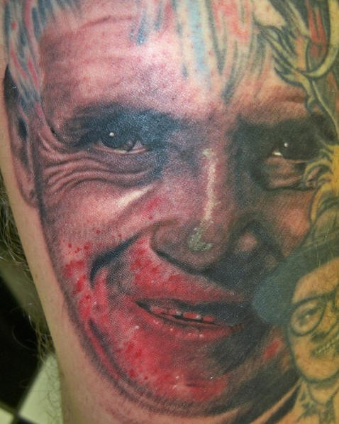 Hannibal lecter face with blood tattoo