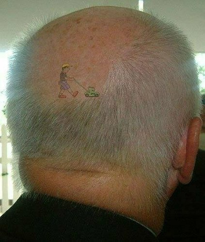 Head tattoo, boy going with toy car