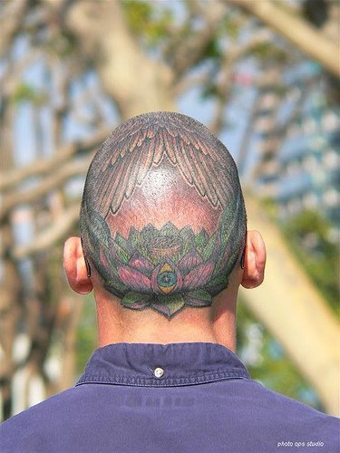 Head tattoo, landscape, nature, wings from the sky