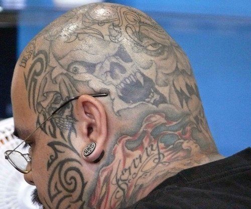 Head tatoo, jenny, styled, different faces of monsters