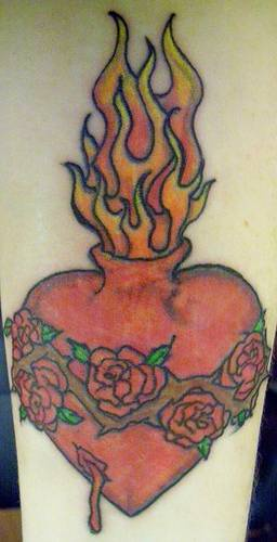 Flaming heart with rose crown