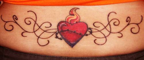 Flaming heart with tracery