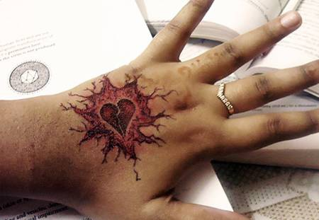 Broken heart tattoo on hand