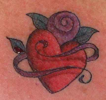Heart with purple ribbons tattoo
