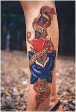 Dagger with heart and blue flower on leg