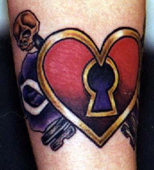 Heart with keyhole and skull tattoo