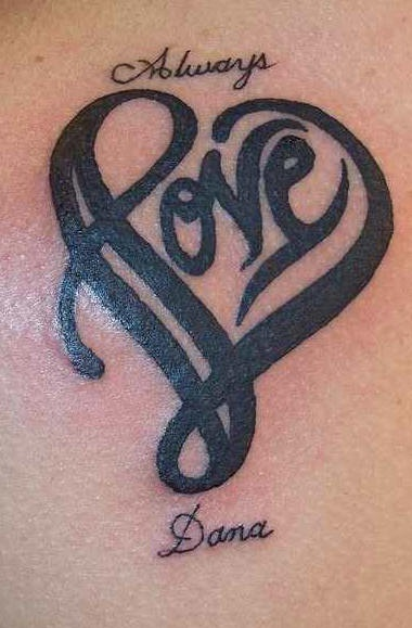 Heart shaped love writing tattoo
