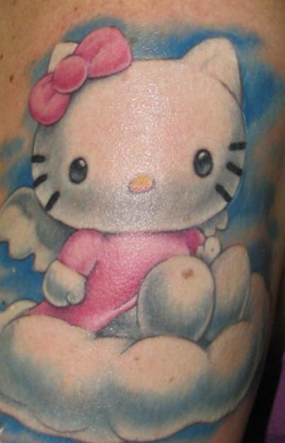Realistic hello kitty in heaven  tattoo