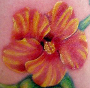 Colourful hibiscus flower tattoo