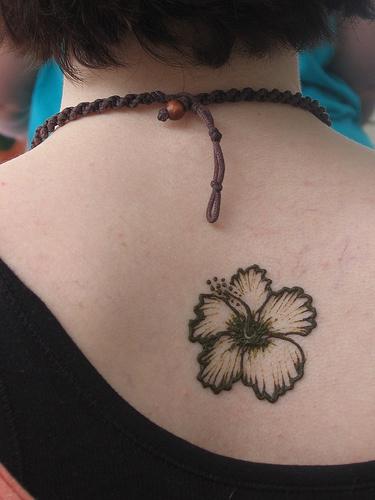 Black Hibiscus Flower Tattoo On Back Tattooimagesbiz