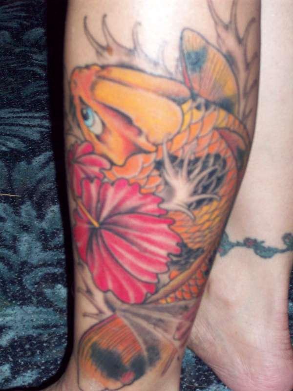 Hibiscus and koi fish leg tattoo