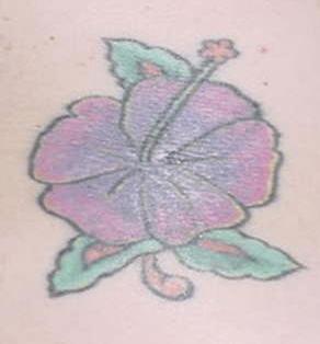 Tender purple hibiscus tattoo