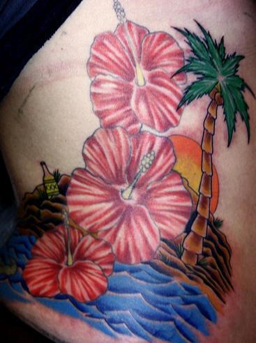 Le Tatouage Des Fleurs D Hibiscus Sur La Plage Au Soleil Soleil Tattooimages Biz
