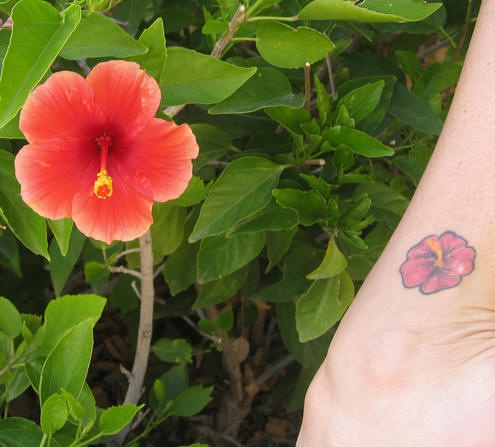 Small hibiscus tattoo with real one
