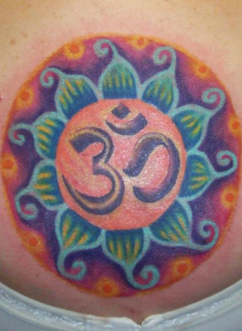 Om Symbol In Colourful Lotus Tattoo Tattooimagesz
