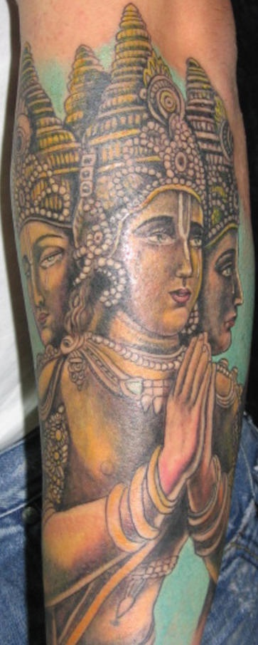 Hindu deity brahma on sleeve