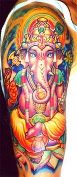 Colourful ganesha pink elephant tattoo
