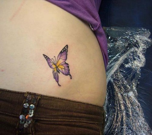 Beatiful, colourful , amazing butterfly hip tattoo