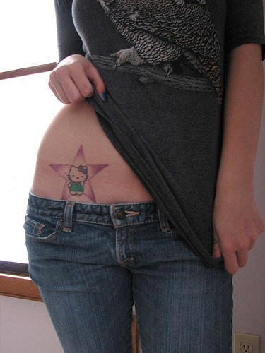 Hello kitty in a star hip tattoo