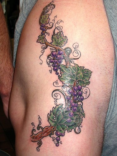 Bunch of grapes hip tattoo design
