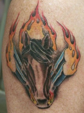 Flaming horse power tattoo in colour