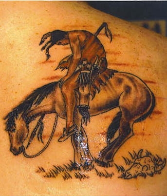 Native indian on horse tattoo