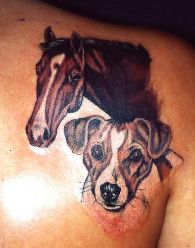 Horse cute dog tattoo