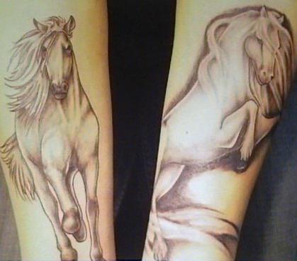Majestic horse black ink tattoo