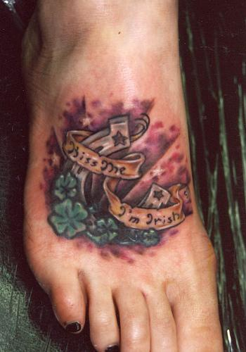 Lucky horseshoe tattoo on foot - Tattooimages.biz