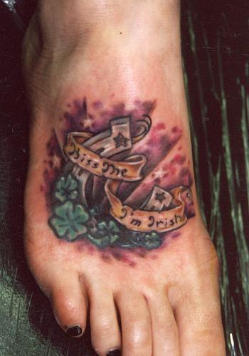 Lucky horseshoe tattoo on foot