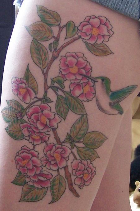 Hummingbird on pink roses tattoo on hip for Hummingbird hip tattoo