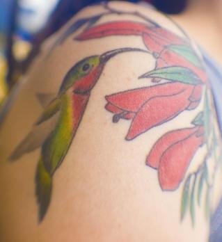 Exotic hummingbird tattoo