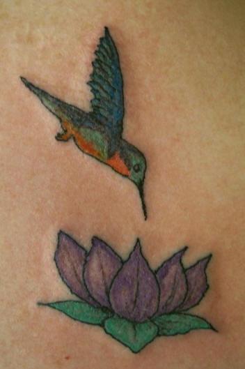 Hummingbird on purple lotus tattoo