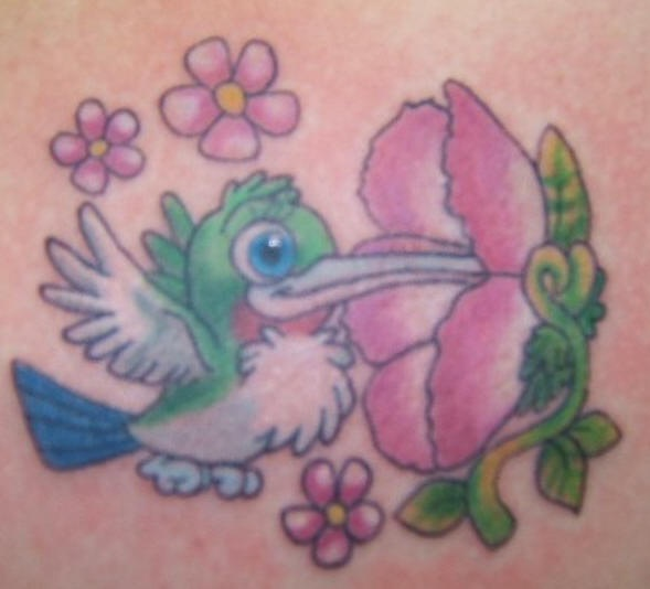 Cartoonish hummingbird lady tattoo