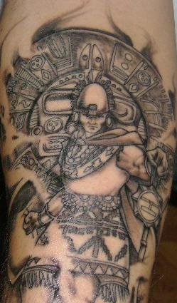 Realistic incan warrior tattoo