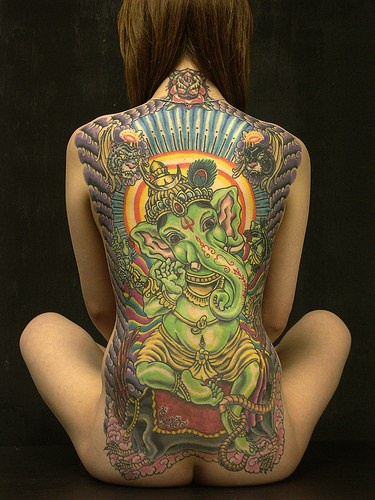 Indische Grune Ganesha Voller Rucken Grosses Tattoo Tattooimages Biz